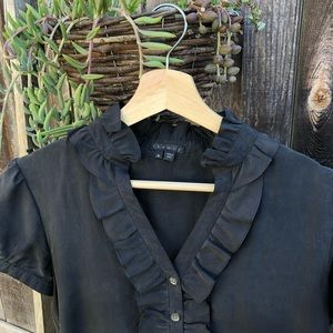 Theory Black Silk Top, Size M